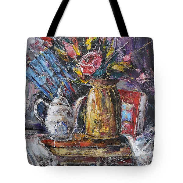 Still Life With Teapot And Fan Tote Bag