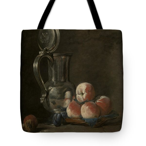 Still Life With Tin Pitcher And Peaches  Tote Bag