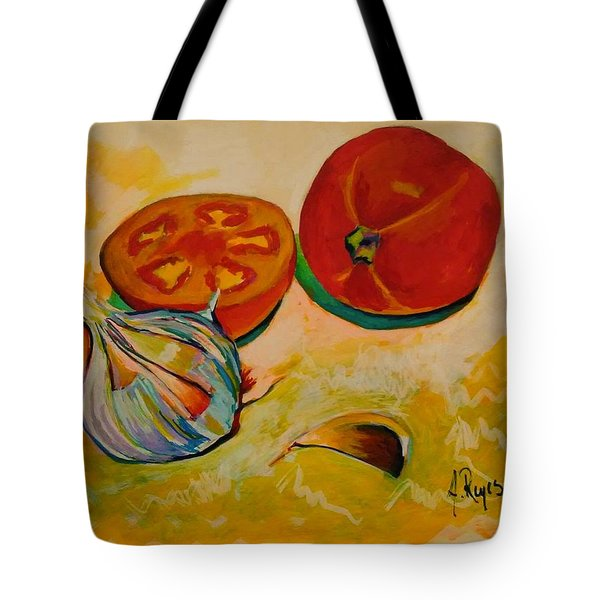 Still Life With Tomatoes And Garlic Tote Bag