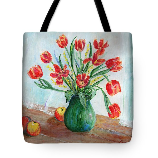 Still Life With Tulips And Apples - Painting Tote Bag