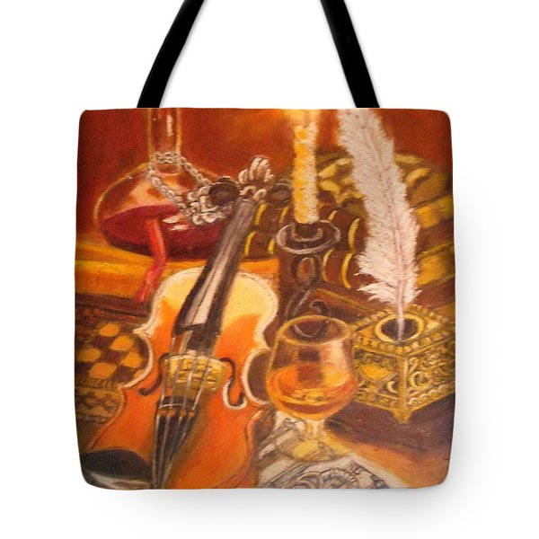 Still Life With Violin And Candle Tote Bag