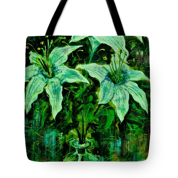 Still Life With White Lilies In Green Tote Bag