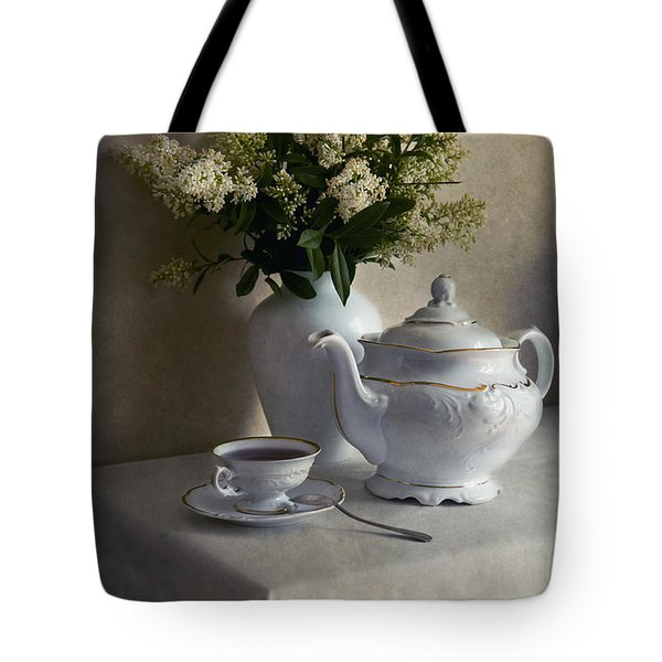 Tote Bag featuring the photograph Still Life With White Tea Set And Bouquet Of White Flowers by Jaroslaw Blaminsky