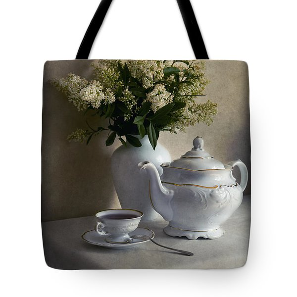 Still Life With White Tea Set And Bouquet Of White Flowers Tote Bag