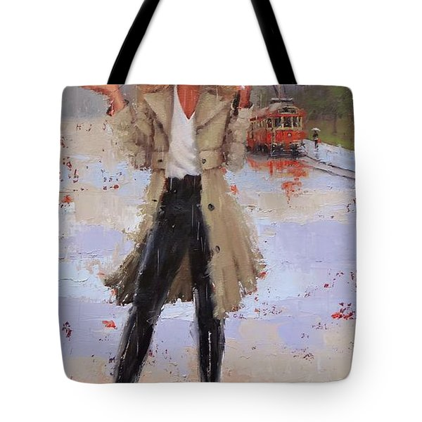 Tote Bag featuring the painting Still Raining by Laura Lee Zanghetti