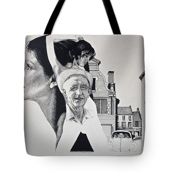 Tote Bag featuring the painting Stipple 2 --over The Hill by Cliff Spohn