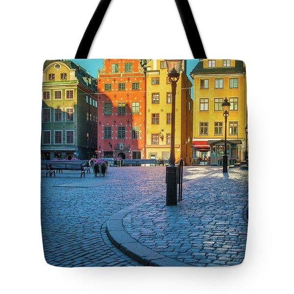 Stockholm Stortorget Square Tote Bag by Inge Johnsson