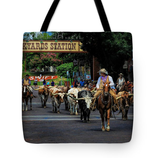 Stockyards Cattle Drive Tote Bag