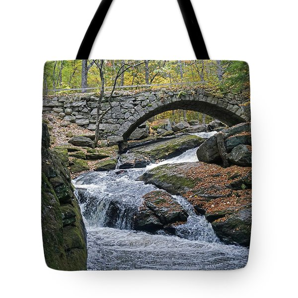 Tote Bag featuring the photograph Stone Arch Bridge In Autumn by Wayne Marshall Chase
