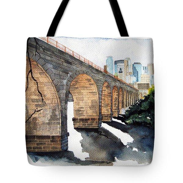 Stone Arch Bridge Watercolor Tote Bag