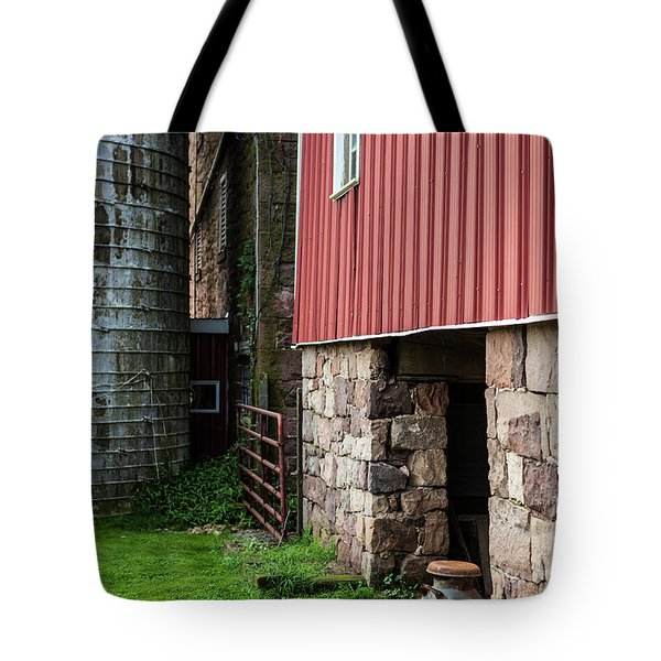Stone Barn With Milk Can Tote Bag