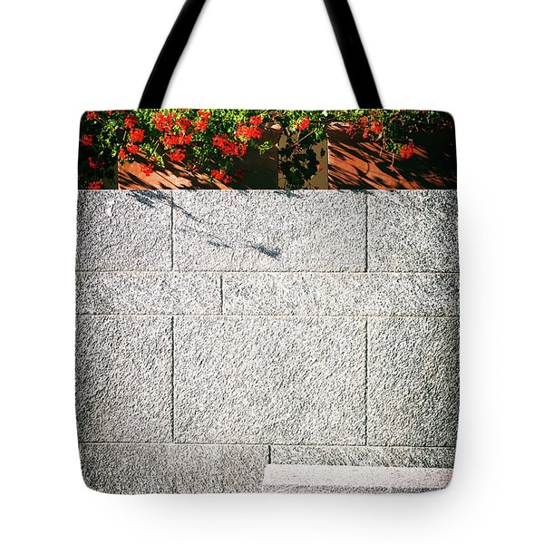 Tote Bag featuring the photograph Stone Bench With Flowers by Silvia Ganora