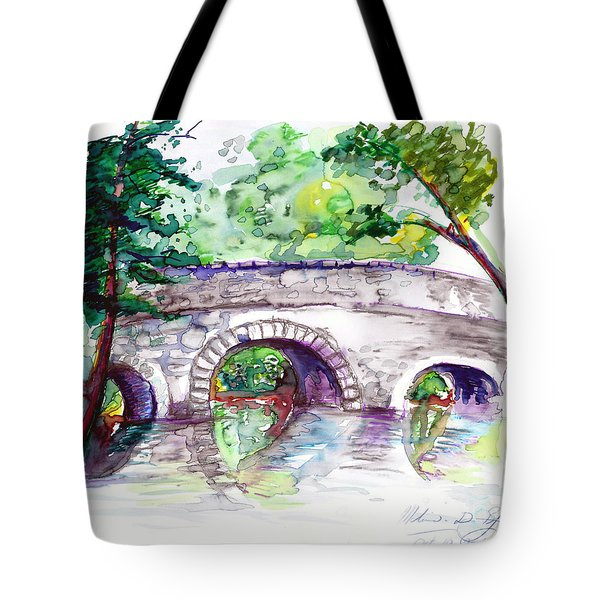 Stone Bridge In Early Autumn Tote Bag by Melinda Dare Benfield