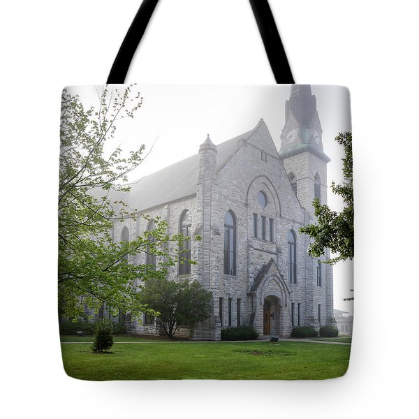 Stone Chapel In Fog Tote Bag