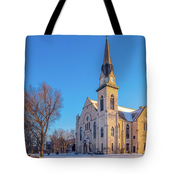 Stone Chapel In Winter Tote Bag