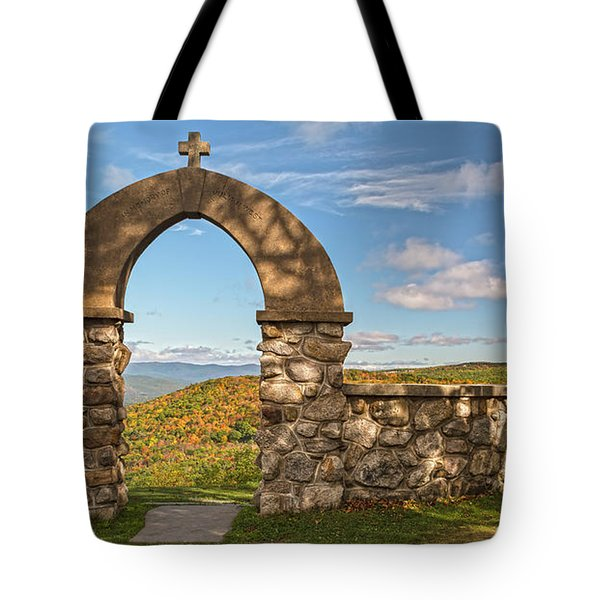 Stone Church In Autumn Tote Bag