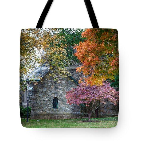 Stone Church In Pomfret Ct In Autumn Tote Bag