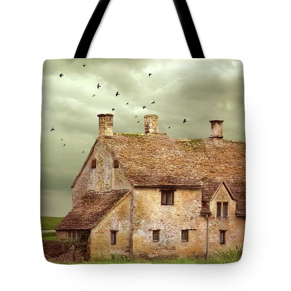 Stone Cottage And Stormy Sky Tote Bag by Jill Battaglia