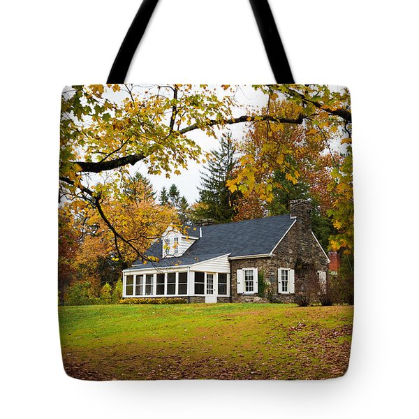 Stone Cottage In The Fall Tote Bag by Kenneth Cole