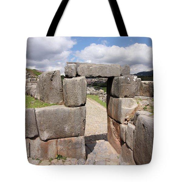 Stone Doorway At Sacsaywaman Tote Bag by Aidan Moran