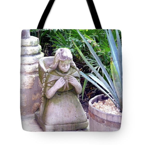 Tote Bag featuring the photograph Stone Girl With Basket And Plants by Francesca Mackenney
