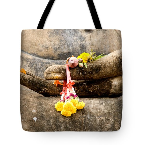 Tote Bag featuring the photograph Stone Hand Of Buddha by Adrian Evans