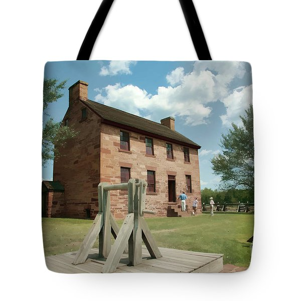 Stone House At Manassas With Digital Effects Tote Bag