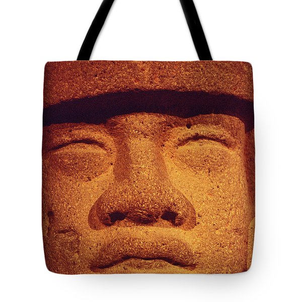 Tote Bag featuring the photograph Stone Jaguar Face Mexico by John  Mitchell