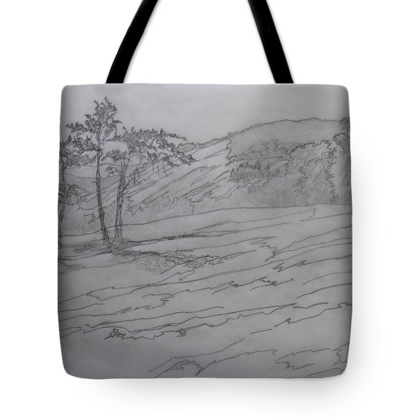 Tote Bag featuring the drawing Stone Mountain And The Four Sisters by Joel Deutsch