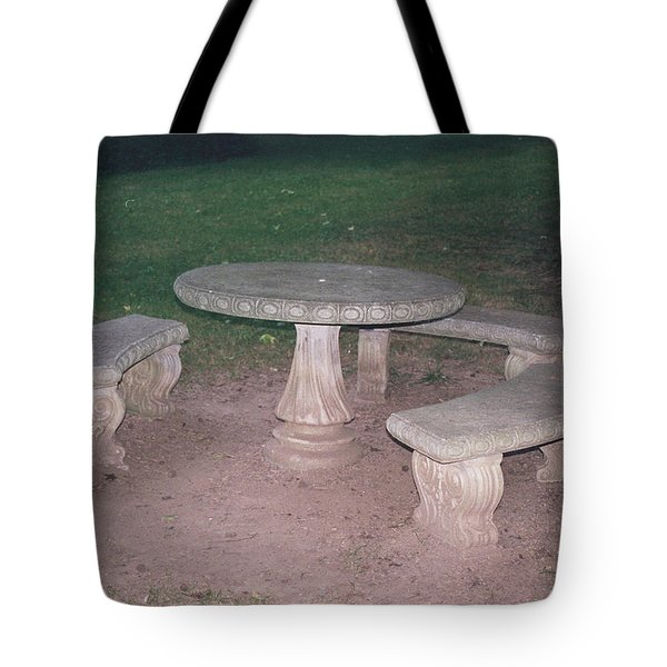 Stone Picnic Table And Benches Tote Bag