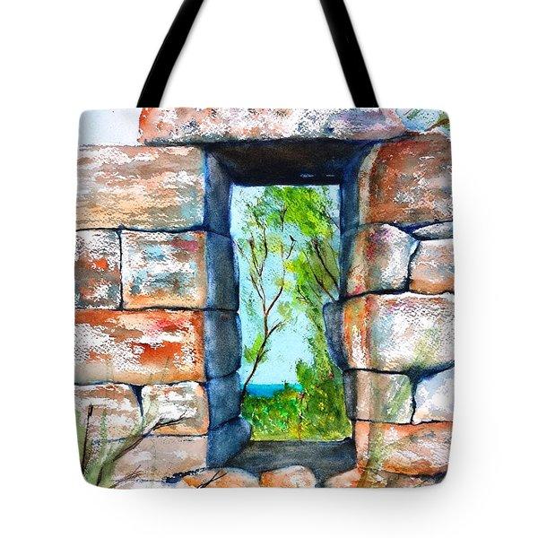 Stone Ruins Doorway Tote Bag