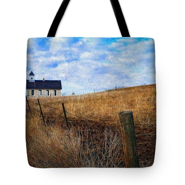 Stone Schoolhouse On The Kansas Prairie Tote Bag