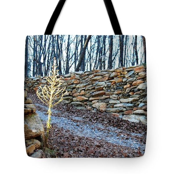 Stone Wall Ga Mountain 1 Tote Bag by Angela Murray