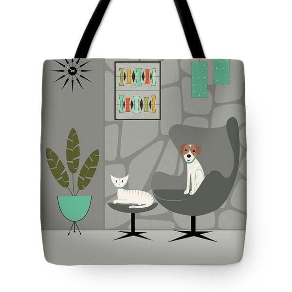 Stone Wall With Dog And Cat Tote Bag