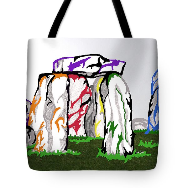 Tote Bag featuring the mixed media Stonehenge Chakras by Mary Mikawoz