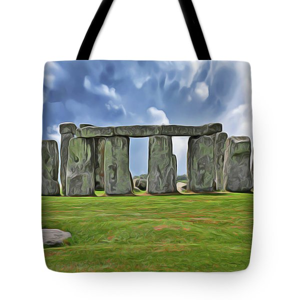 Tote Bag featuring the digital art Stonehenge by Harry Warrick