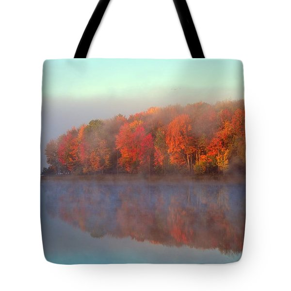 Stoneledge Lake Pristine Beauty In The Fog Tote Bag by Terri Gostola