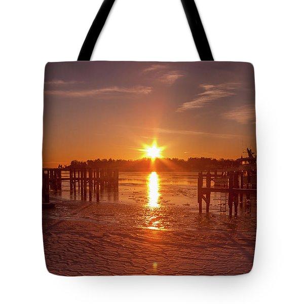 Stonington Harbor Sunset On Ice Tote Bag