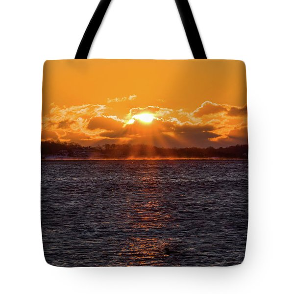 Stonington Point Sunrise Tote Bag