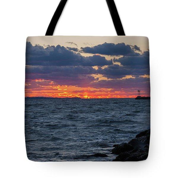 Stonington Point Sunset Tote Bag