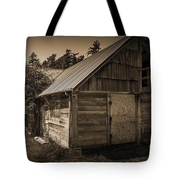 Storage Shed In Sepia Tote Bag