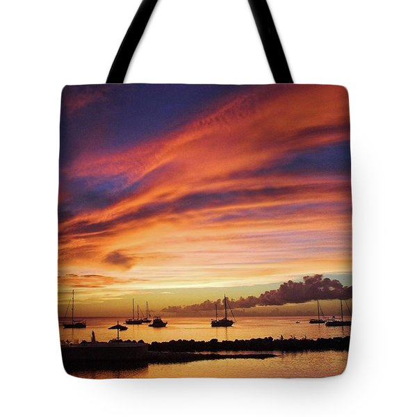 Store Bay, Tobago At Sunset #view Tote Bag by John Edwards
