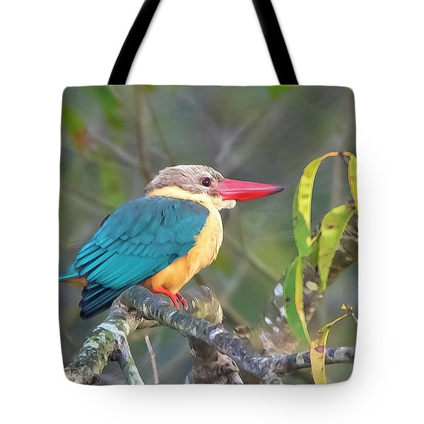 Stork-billed Kingfisher Tote Bag by Pravine Chester