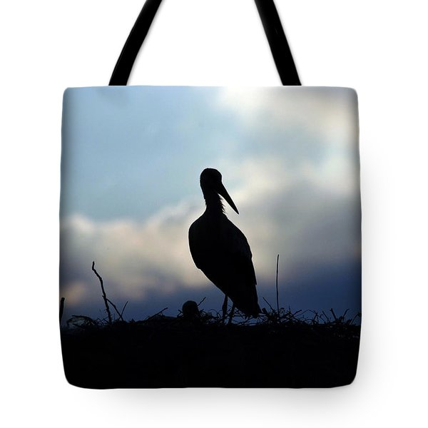 Stork In Evening Light Tote Bag