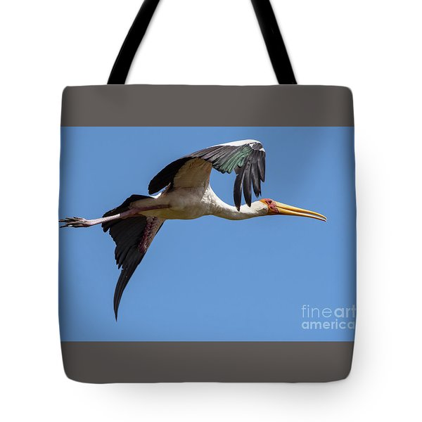 Tote Bag featuring the photograph Stork In Flight by Pravine Chester