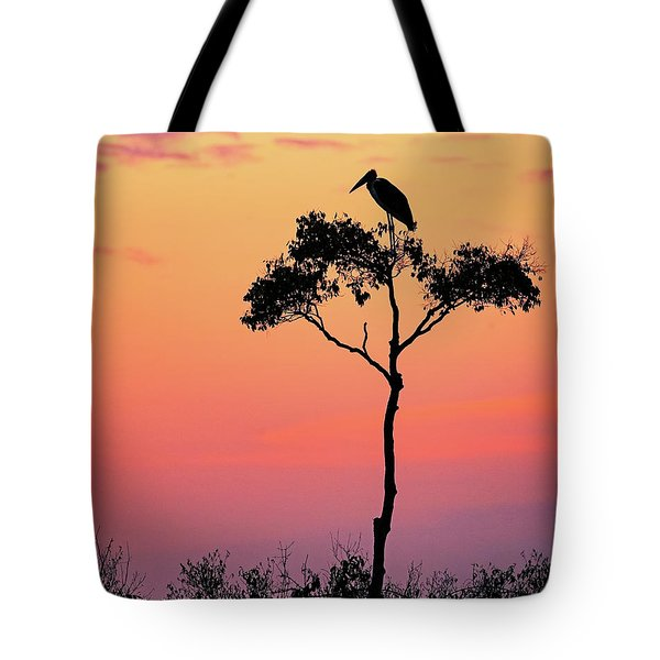 Stork On Acacia Tree In Africa At Sunrise Tote Bag