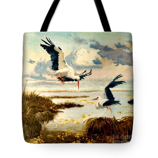 Storks II Tote Bag by Henryk Gorecki