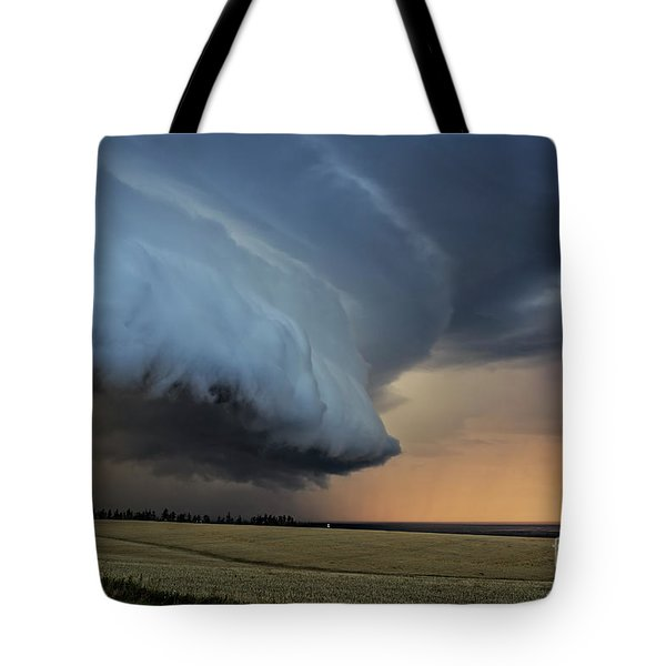 Storm Approaching Cape Tryon Lighthouse Tote Bag