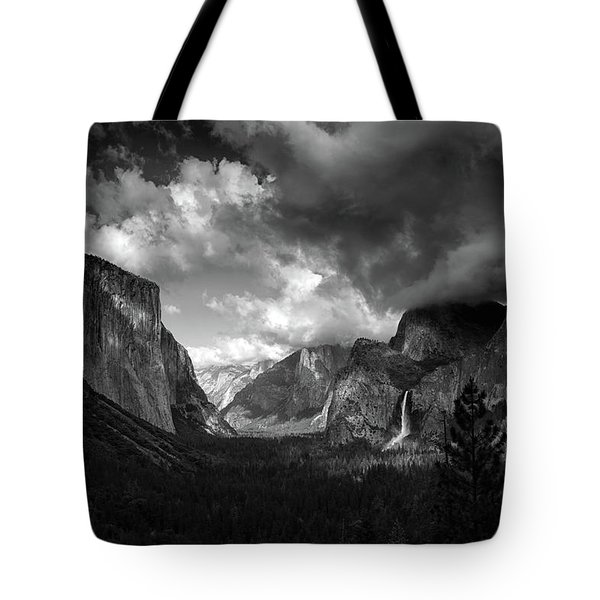 Storm Arrives In The Yosemite Valley Tote Bag