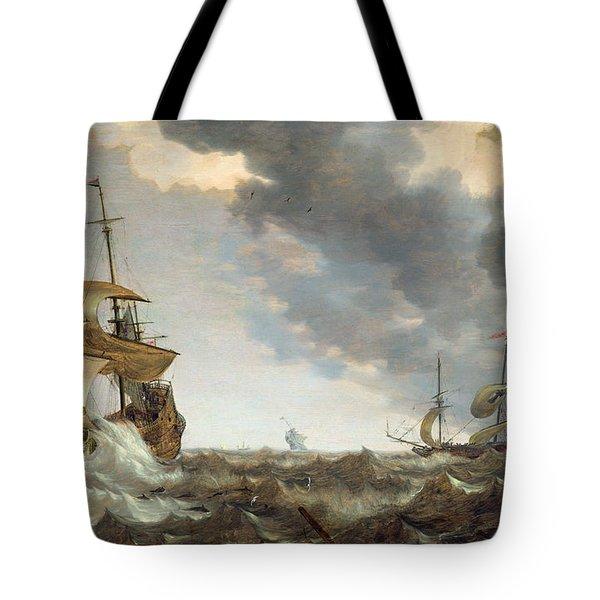 Storm At Sea Tote Bag by Bonaventura Peeters